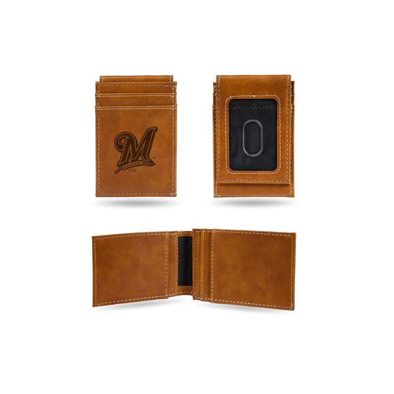 Brewers Laser-Engraved Front Pocket Wallet - Brown