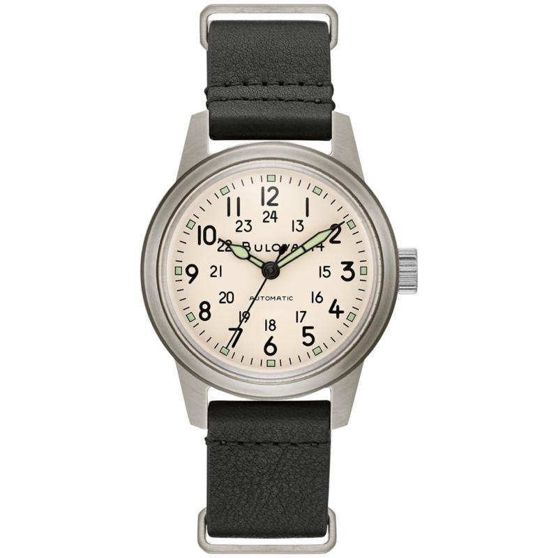 Bulova Men's Black Leather Military Style Automatic Watch