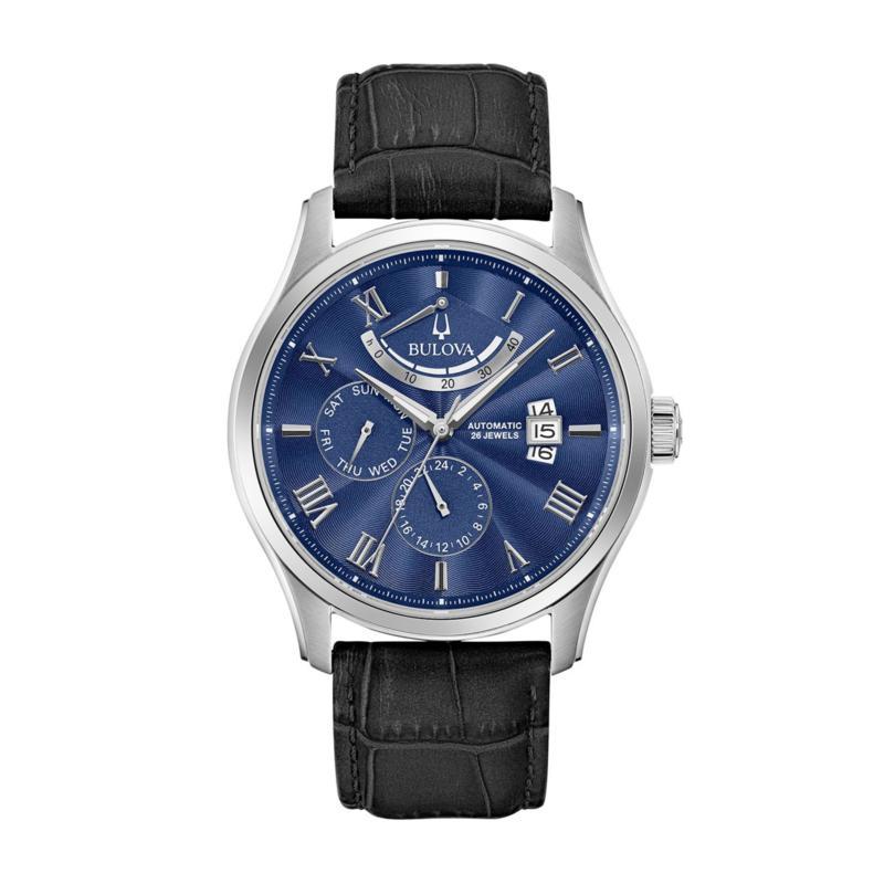 Bulova Men's Blue Dial Automatic Leather Strap Watch