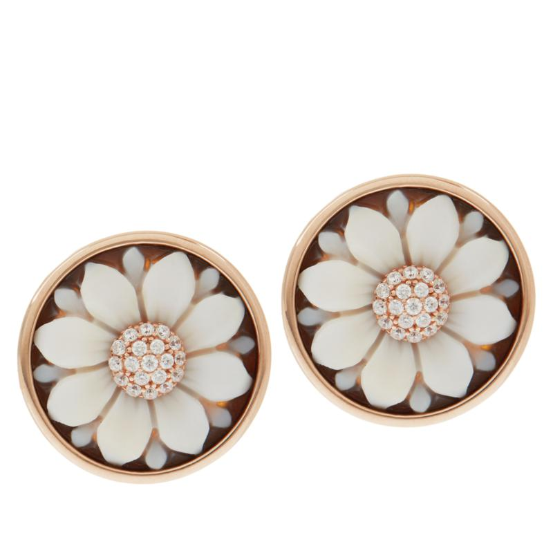 Cameo Italiano Hand Carved Cameo Earring with Removable Jacket