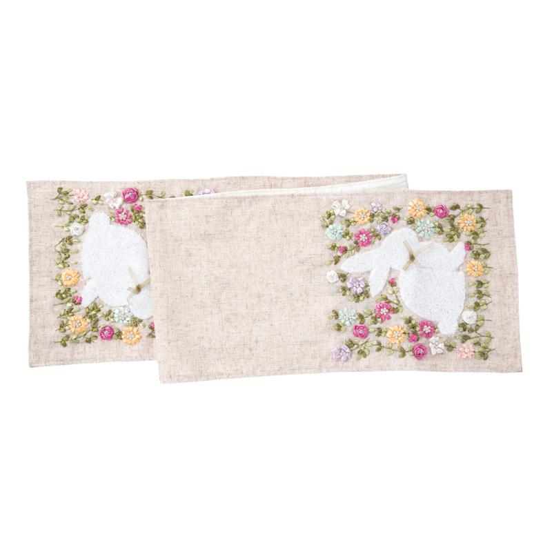 C&F Home Meadow Bunny Hand Crafted Ribbon Art Table Runner