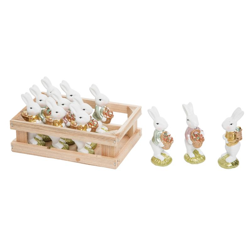 C&F Home Mini White Bunnies In Crate Set of 12
