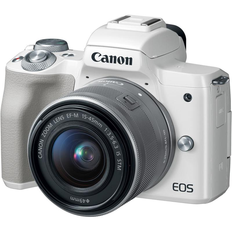Canon EOS M50 Mirrorless Digital Camera with 15-45mm Lens - White