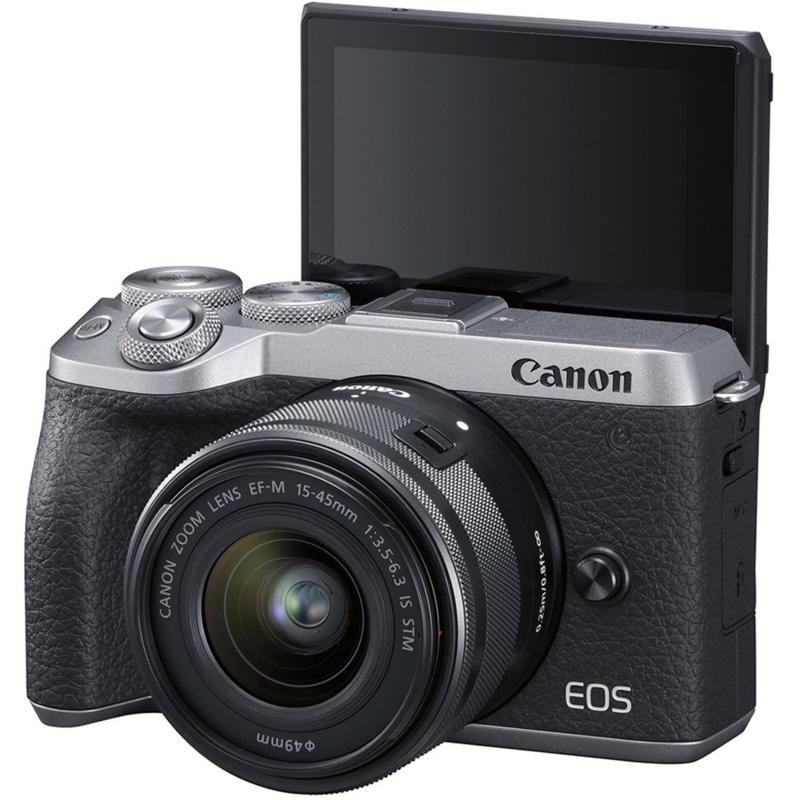 Canon EOS M6 Mark II Digital Camera w/15-45mm Lens & Viewfinder-Silver
