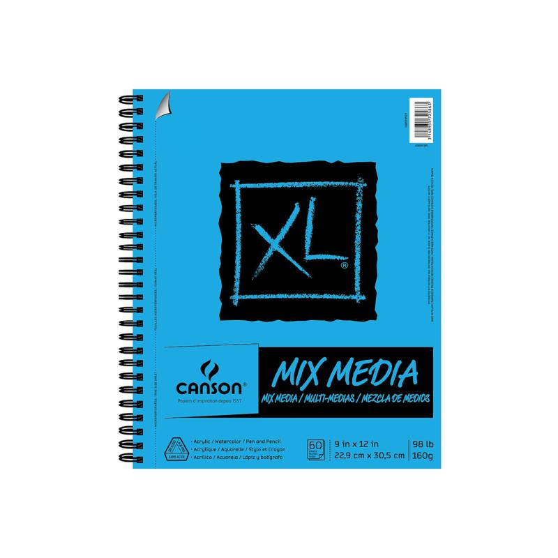 """Canson XL Mixed Media Wire Bound Pad 9"""" x 12"""" - 60 Sheets"""