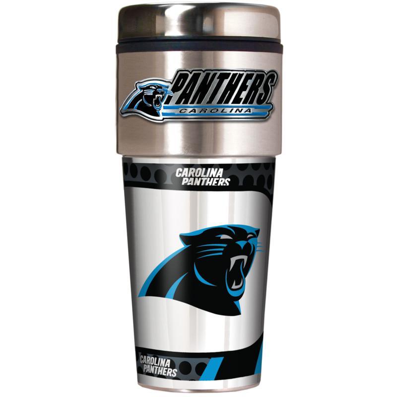 Carolina Panthers Travel Tumbler w/ Metallic Graphics and Team Logo