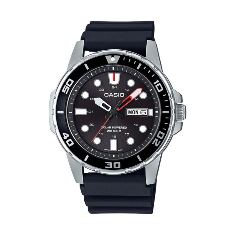 Casio Stainless Steel Men's Solar-Powered Analog Resin Strap Watch