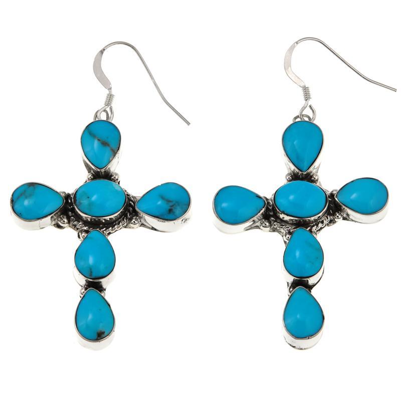 Chaco Canyon Blue Kingman Turquoise Sterling Silver Cross Earrings
