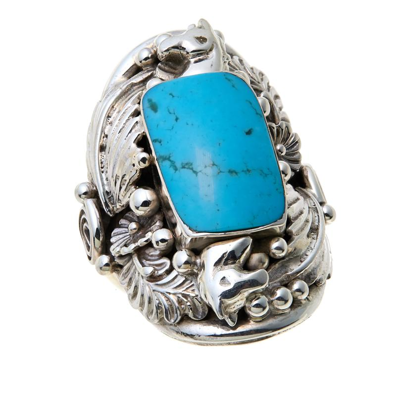 "Chaco Canyon Kingman Turquoise ""Leaf"" Sterling Silver Ring"