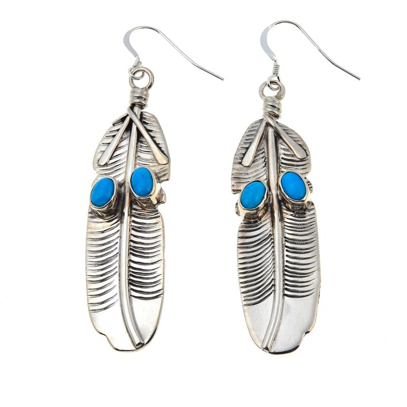 Chaco Canyon Oval Kingman Turquoise Etched Feather Earrings