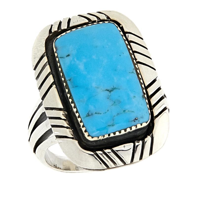 Chaco Canyon Rectangular Kingman Turquoise Sterling Silver Ring