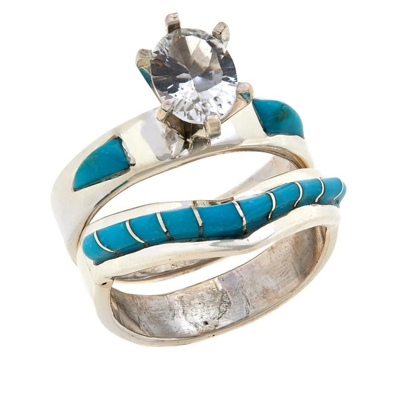 Chaco Canyon Sleeping Beauty Turquoise and White Topaz Ring Set