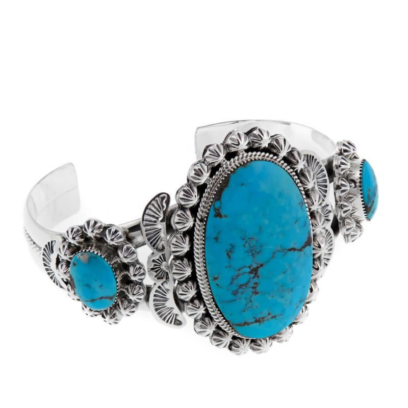 Chaco Canyon Southwest Kingman Turquoise Sterling Silver Cuff Bracelet