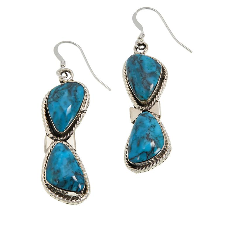 Chaco Canyon Sterling Silver Freeform Kingman Turquoise Drop Earrings