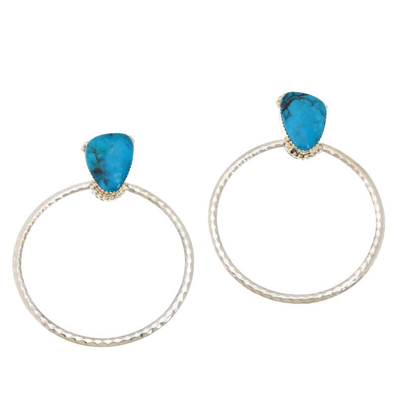 Chaco Canyon Sterling Silver Kingman Turquoise Doorknocker Earrings