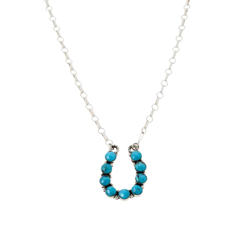 Chaco Canyon Sterling Silver Kingman Turquoise Horseshoe Drop Necklace