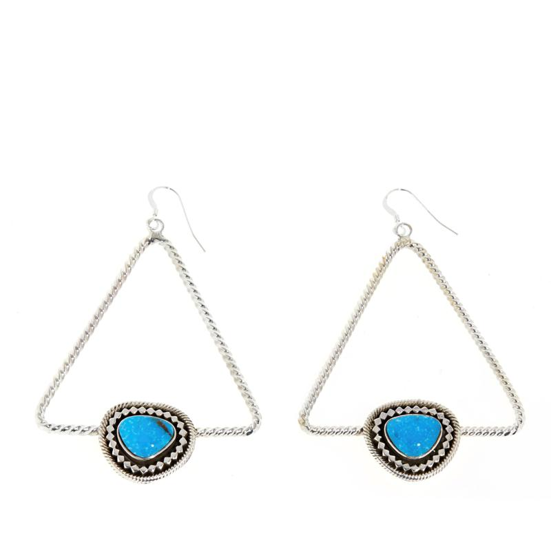 Chaco Canyon Sterling Silver Kingman Turquoise Triangle Drop Earrings