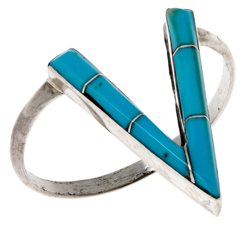 Chaco Canyon Sterling Silver Kingman Turquoise Zuni Chevron Ring