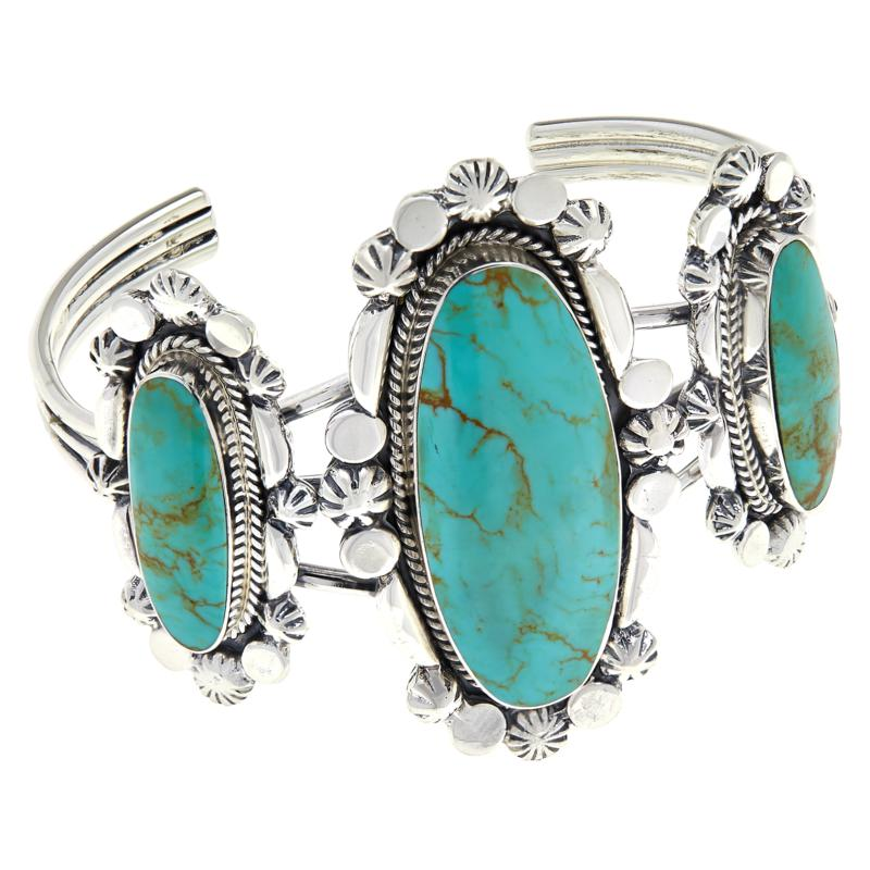 Chaco Canyon Sterling Silver Triple Oval Ceremonial Turquoise Cuff