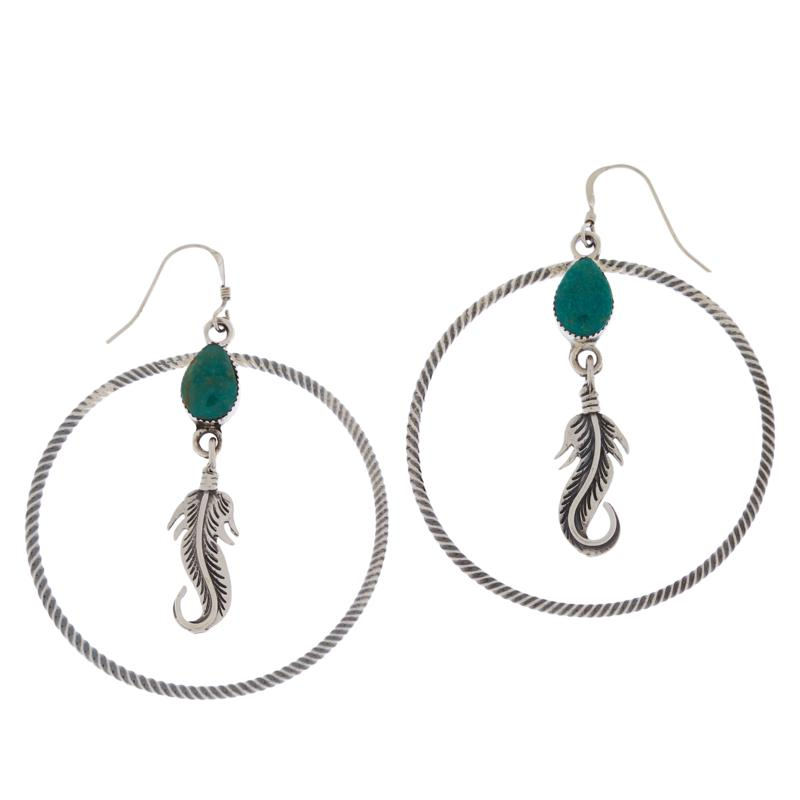 Chaco Canyon Sterling Silver Turquoise Feather Drop Hoop Earrings