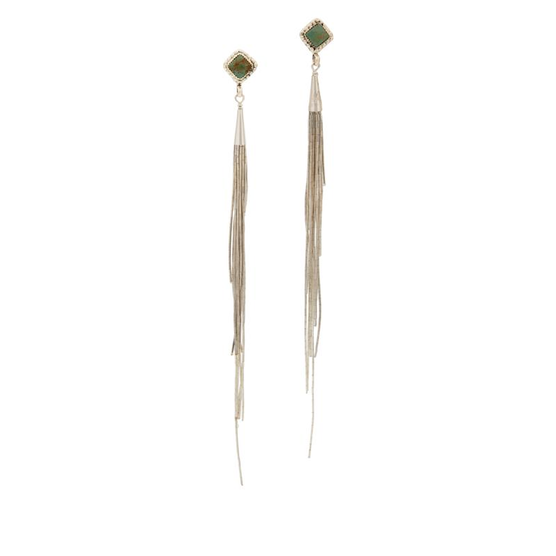 Chaco Canyon Sterling Silver Turquoise Tassel Earrings