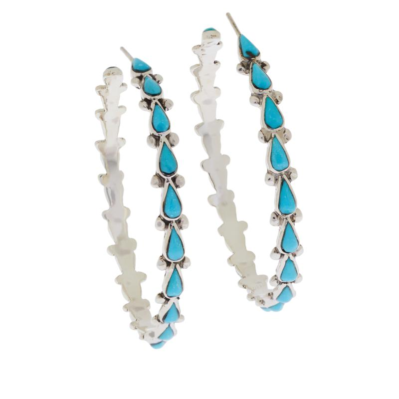 Chaco Canyon Sterling Silver Zuni Turquoise Large Hoop Earrings
