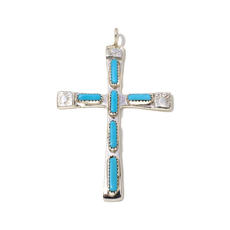 Chaco Canyon Zuni Sleeping Beauty Turquoise Cross