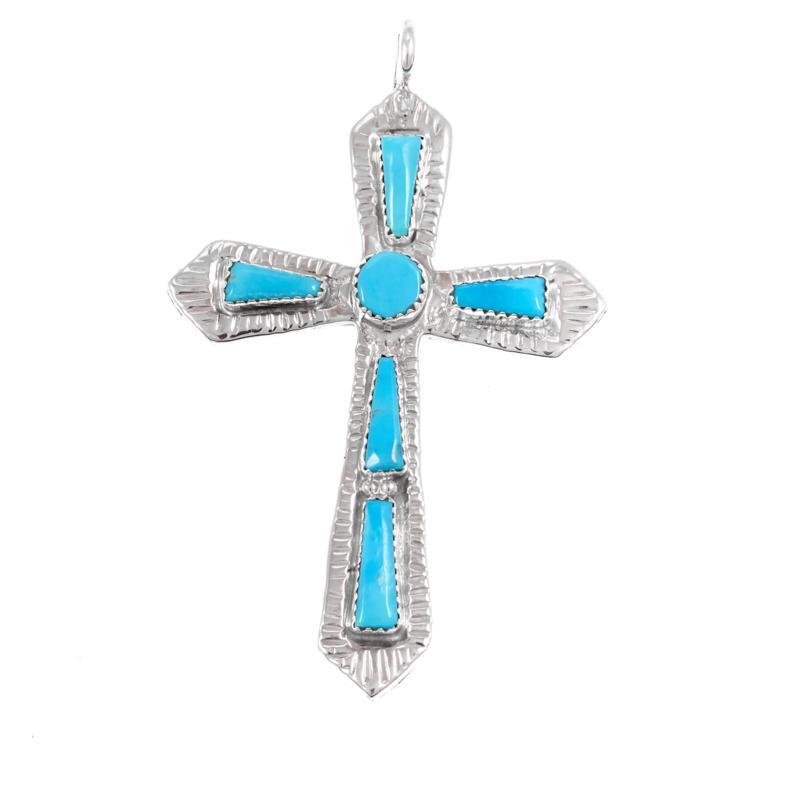 Chaco Canyon Zuni Sleeping Beauty Turquoise Cross Pendant