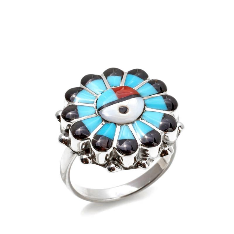 Chaco Canyon Zuni Sun Face Multistone Sterling Ring
