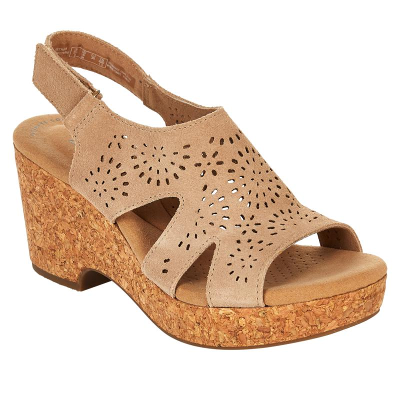 Clarks Collection Giselle Bay Laser-Cut Suede Cork Wedge Sandal