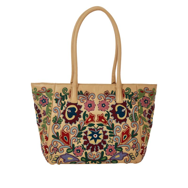 Clever Carriage Bodrum Leather Embroidered Tote