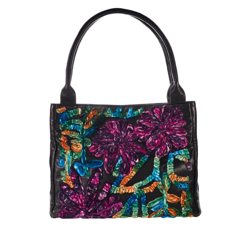 Clever Carriage Floral Embroidered Leather Satchel