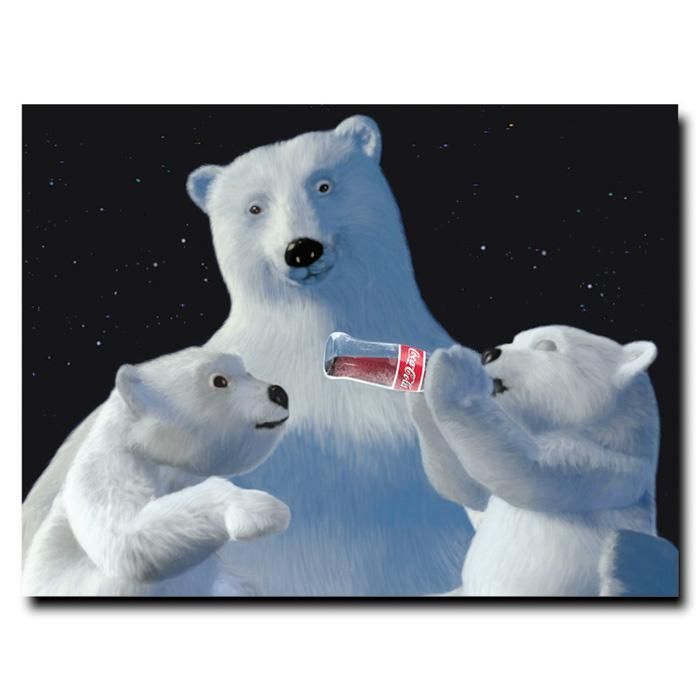 "Coca-Cola ""Polar Bear with Cubs"" Canvas Art"