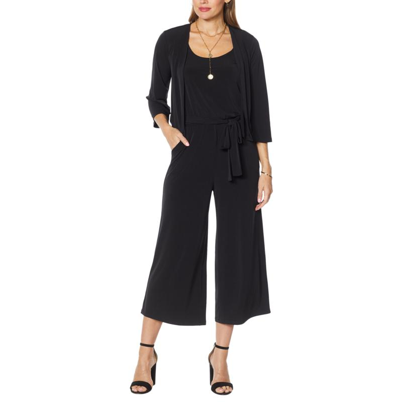 Colleen Lopez 2-piece Easy Knit Jumpsuit and Cropped Cardigan