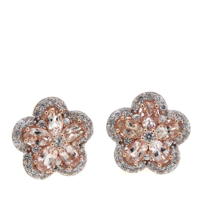Colleen Lopez 3.51ctw Morganite and White Zircon Flower Stud Earrings