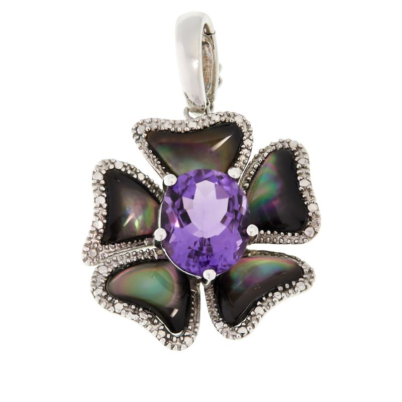 Colleen Lopez Amethyst and Black Mother-of-Pearl Pendant