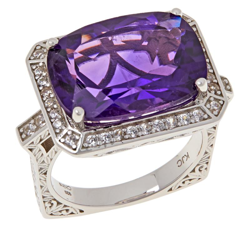 Colleen Lopez Cushion-Cut Gemstone and White Zircon Ring
