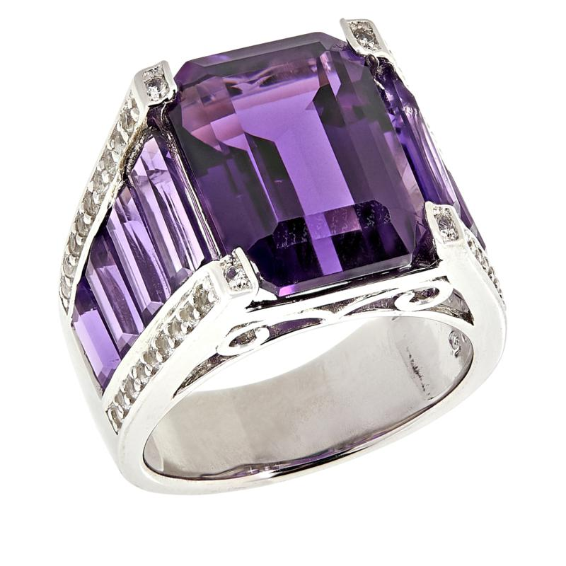 Colleen Lopez Emerald-Cut Amethyst and White Topaz Ring