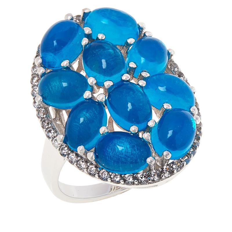 STERLING SILVER BLUE OPAL /& WHITE ZIRCON LADIES MARQUISE RING SIZE L 925