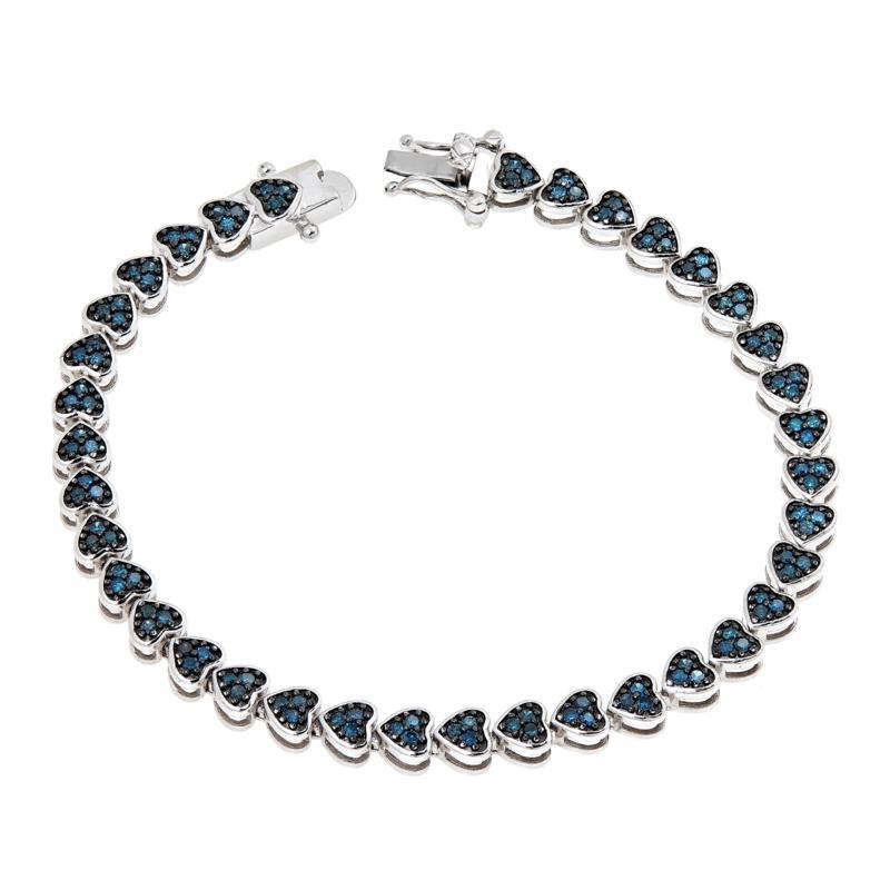 Colleen Lopez Sterling Silver Diamond Heart-Shaped Tennis Bracelet
