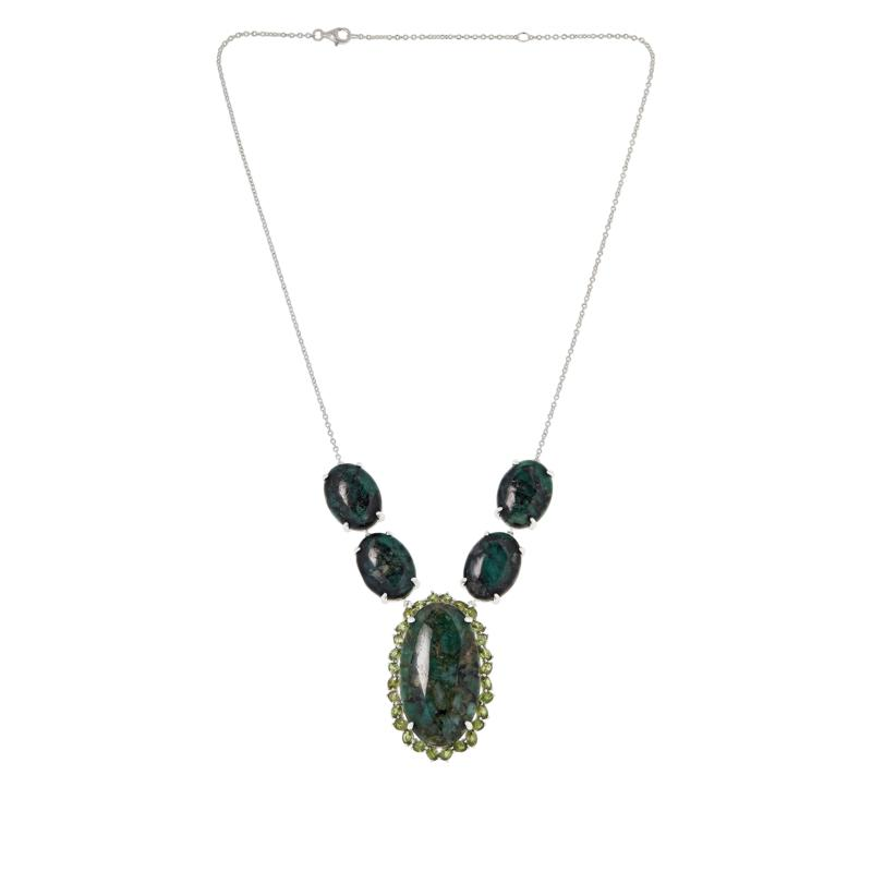 Colleen Lopez Sterling Silver Emerald and Demantoid Garnet Necklace