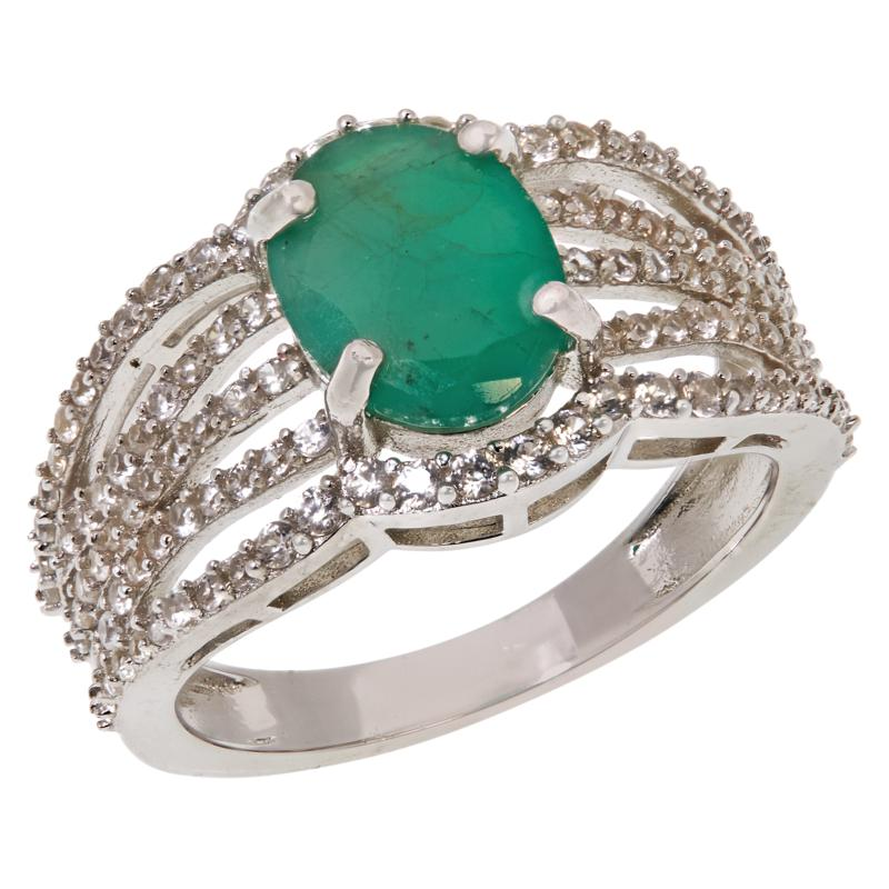 Colleen Lopez Sterling Silver Emerald and White Zircon Ring