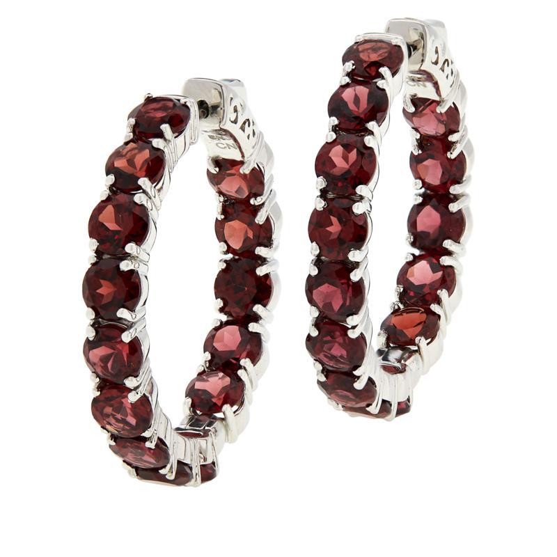 Colleen Lopez Sterling Silver Gemstone Inside-Outside Hoop Earrings