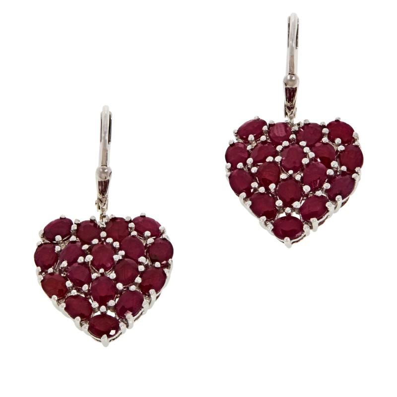 Colleen Lopez Sterling Silver Indian Ruby Heart Drop Earrings