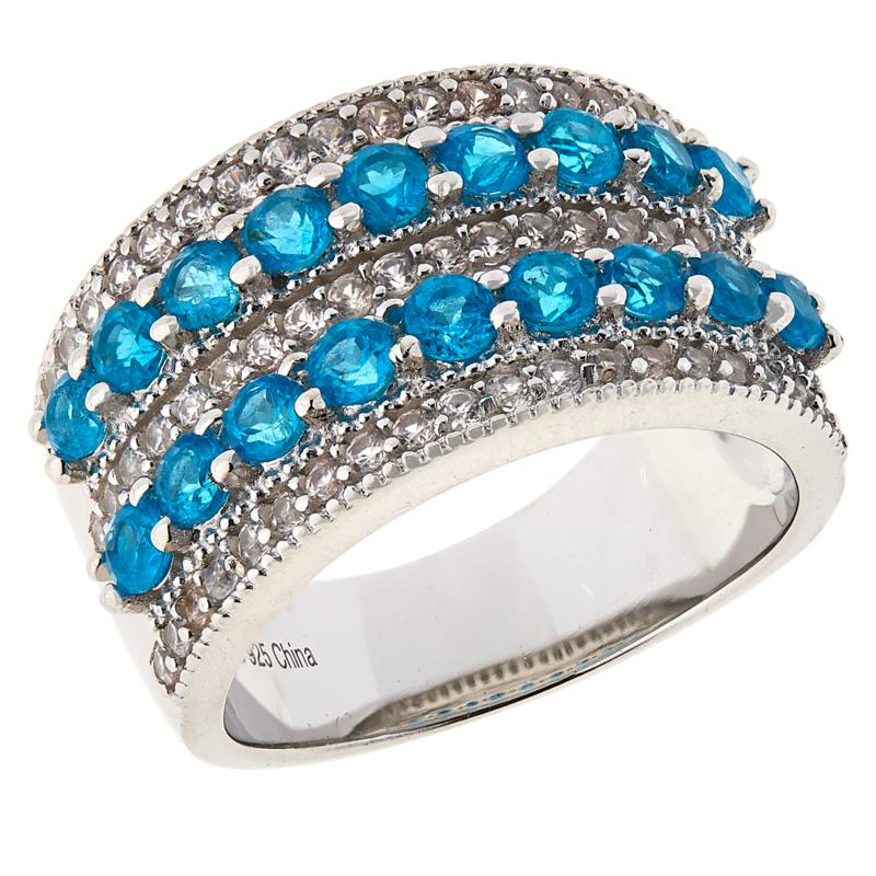 Colleen Lopez Sterling Silver Neon Blue Apatite and White Zircon Ring