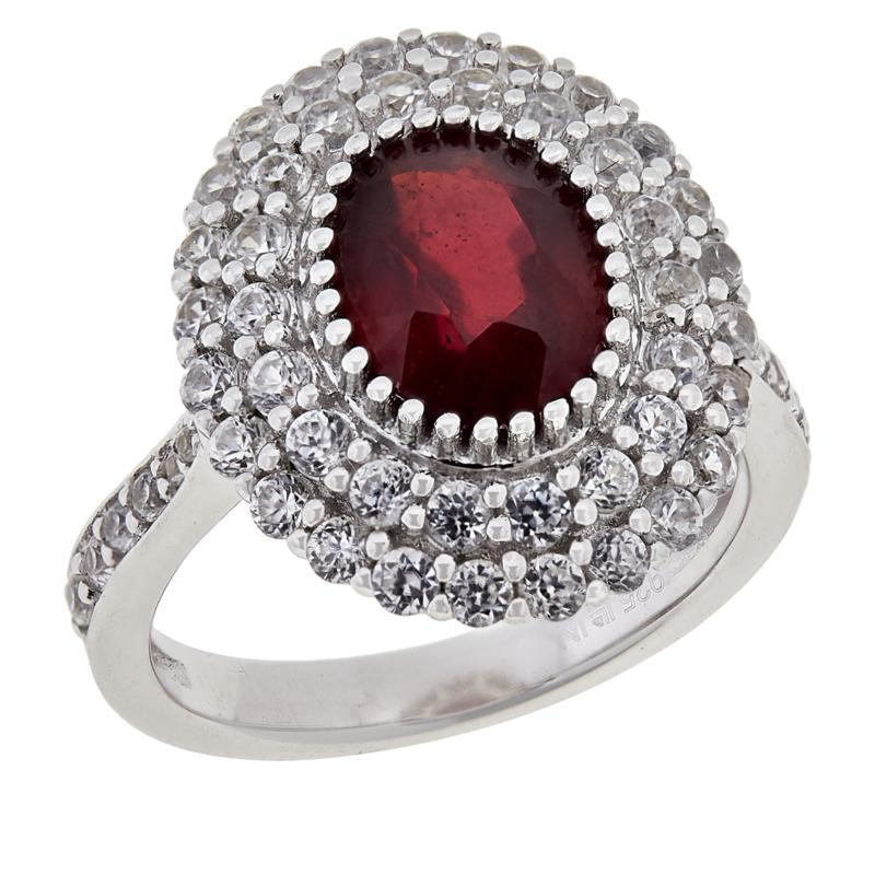 Colleen Lopez Sterling Silver Ruby and White Zircon Ring