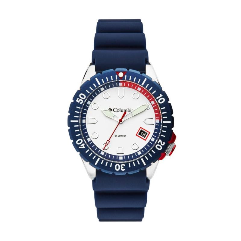 """Columbia """"Pacific Outlander"""" Men's Navy Blue Silicone Strap Watch"""