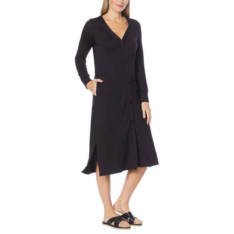 Comfort Code Stretch Jersey Button-Front Maxi Duster