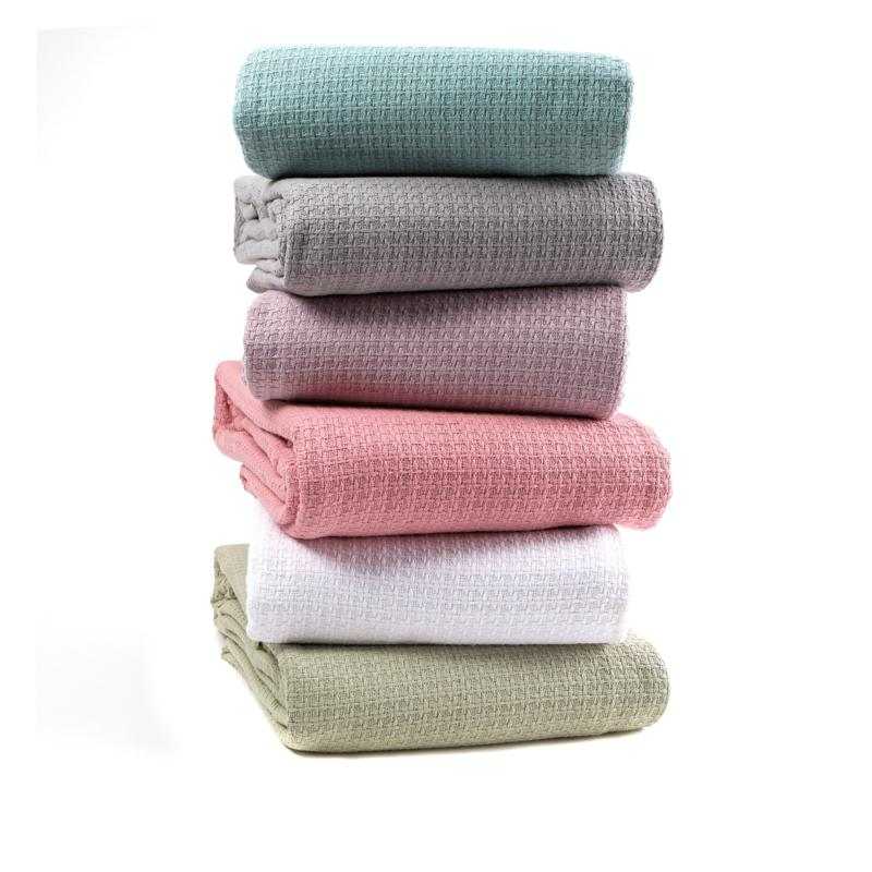 Concierge Collection 100% Cotton Waffle Weave Full/Queen Blanket