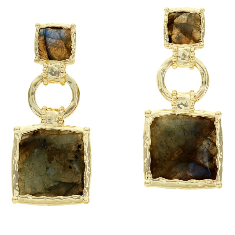 Connie Craig Carroll Jewelry Josephine Labradorite Square Earrings